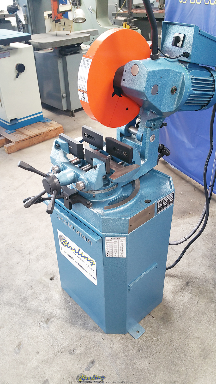 new scotchman (low turn, manual vise and manual down feed) circular cold saw (for cutting steel, stainless, aluminum, brass, copper, plastics) CPO 350 LT