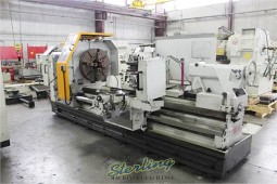 "Used Eisen Heavy Duty Hollow Spindle Gap Bed Engine Lathe With Double Chuck and 10"" Hole Thru Spindle"