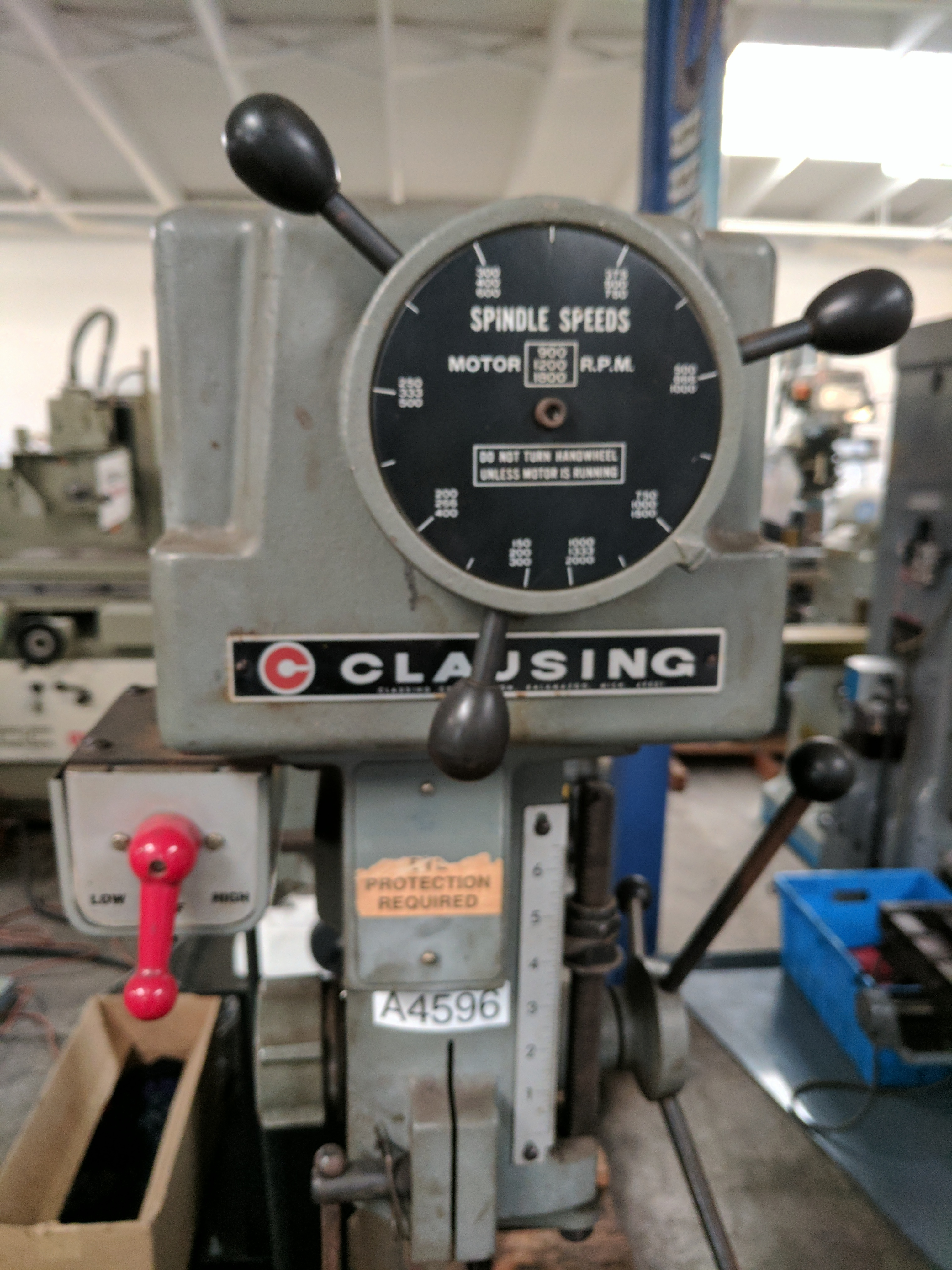 drill press metal lathe. used clausing floor drill press metal lathe