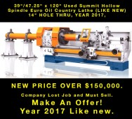 "Used Summit Hollow Spindle Euro Oil Country Lathe (LIKE NEW) 14"" HOLE THRU, YEAR 2017"