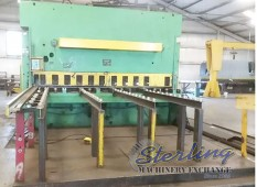 Used HTC Hydraulic Shear (HEAVY DUTY SHEAR) With Rear Swing Up Backgauge and Sheet Conveyor System
