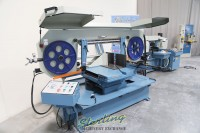 used (demo machinery) baileigh horizontal semi-automatic dual mitering (swivel) variable speed metal cutting band saw BS-24SA-DM